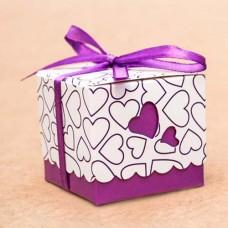 Бонбоньерка с фиолетовыми сердечками