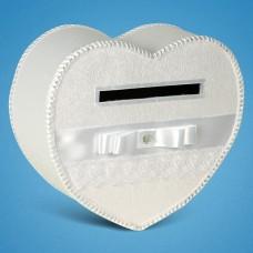 Белый сундучок для денег в форме сердца