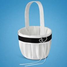 Корзинка для лепестков с черно-белой лентой