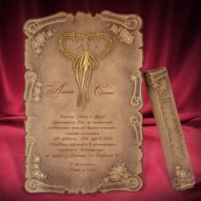 """Свадебное приглашение - свиток """"Два сердца"""""""