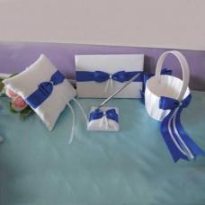 Свадебный набор с синими лентами