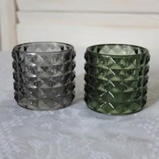Подсвечник серый / зеленый