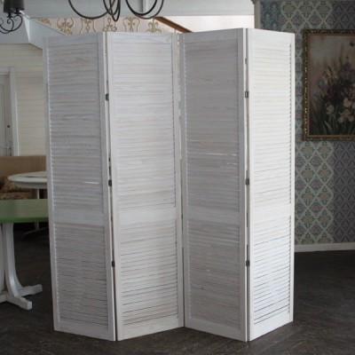 Деревянная белая ширма