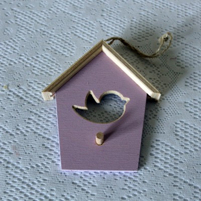 """Деревянная подвеска """"домик с птичкой"""" 5 шт."""