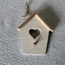 """Деревянная подвеска """"домик с сердцем"""" 5 шт."""
