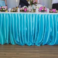 Банкетная юбка мятного цвета со складками